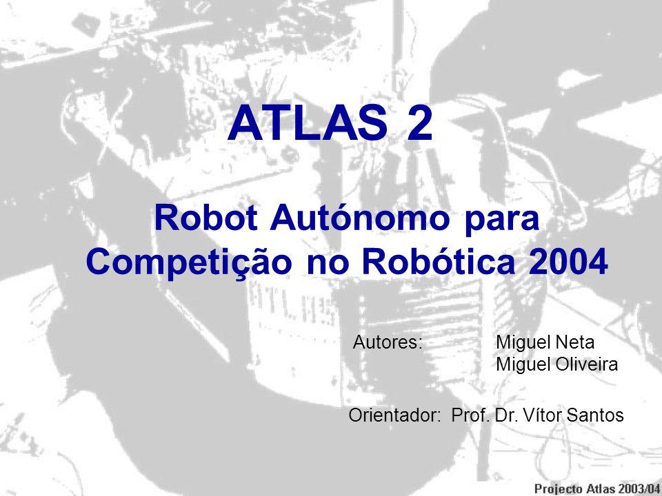 ATLAS 2 Robot Autónomo para Competição no Robótica 2004 Autores: Miguel Neta Miguel Oliveira Orientador: Prof. Dr. Vítor Santos