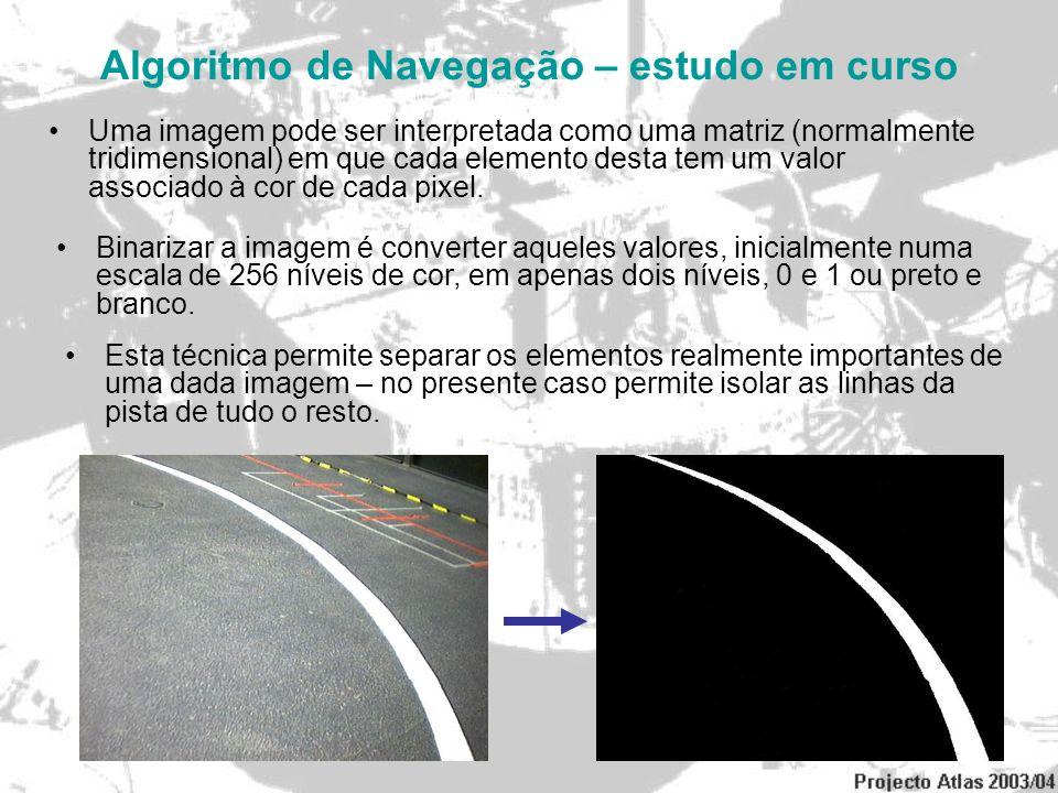 Algoritmo de Navegação – estudo em curso Uma imagem pode ser interpretada como uma matriz (normalmente tridimensional) em que cada elemento desta tem