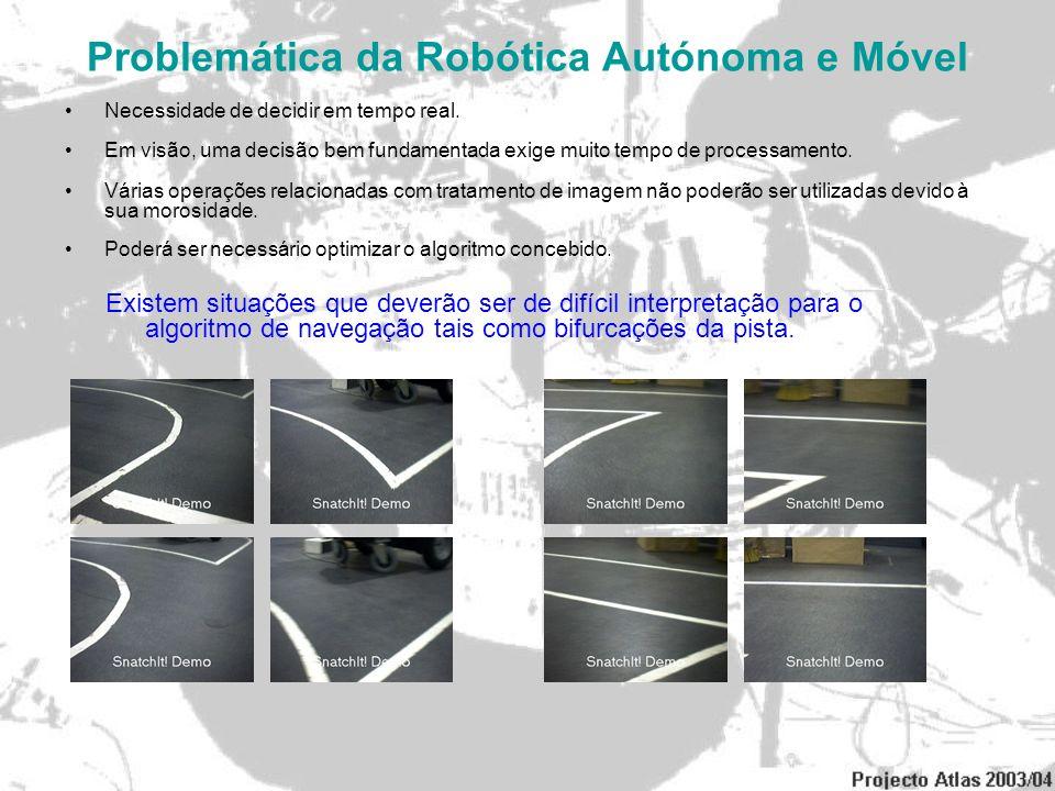 Problemática da Robótica Autónoma e Móvel Necessidade de decidir em tempo real. Em visão, uma decisão bem fundamentada exige muito tempo de processame