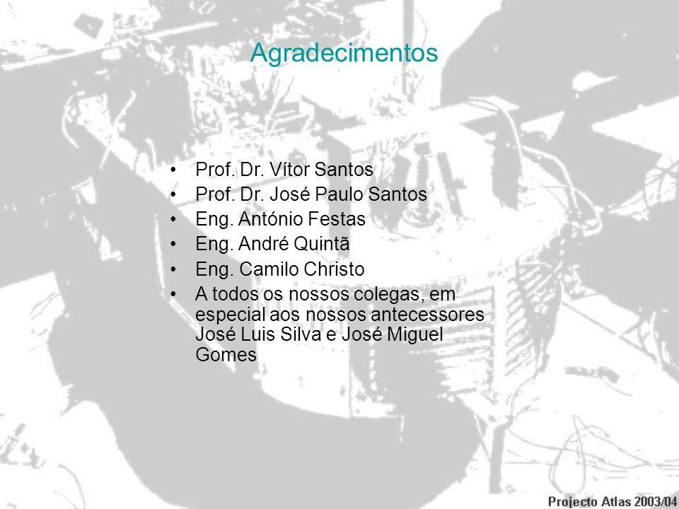 Agradecimentos Prof. Dr. Vítor Santos Prof. Dr. José Paulo Santos Eng. António Festas Eng. André Quintã Eng. Camilo Christo A todos os nossos colegas,