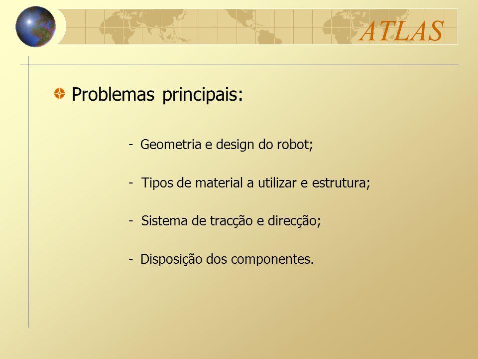 ATLAS -Geometria e design do robot; - Tipos de material a utilizar e estrutura; - Sistema de tracção e direcção; -Disposição dos componentes. Problema