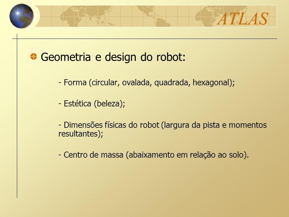 ATLAS - Forma (circular, ovalada, quadrada, hexagonal); - Estética (beleza); - Dimensões físicas do robot (largura da pista e momentos resultantes); -