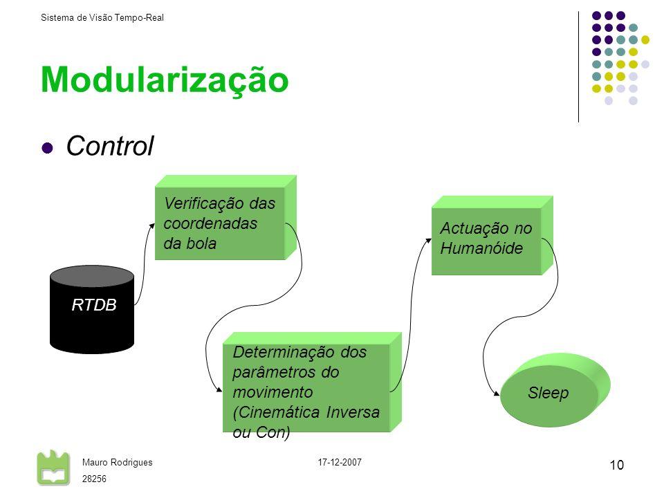 Sistema de Visão Tempo-Real Mauro Rodrigues 28256 17-12-2007 10 Modularização Control Verificação das coordenadas da bola Determinação dos parâmetros do movimento (Cinemática Inversa ou Con) Actuação no Humanóide RTDB Sleep