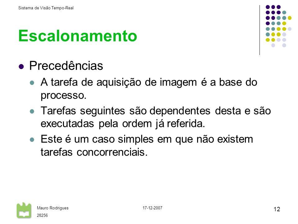Sistema de Visão Tempo-Real Mauro Rodrigues 28256 17-12-2007 12 Escalonamento Precedências A tarefa de aquisição de imagem é a base do processo. Taref