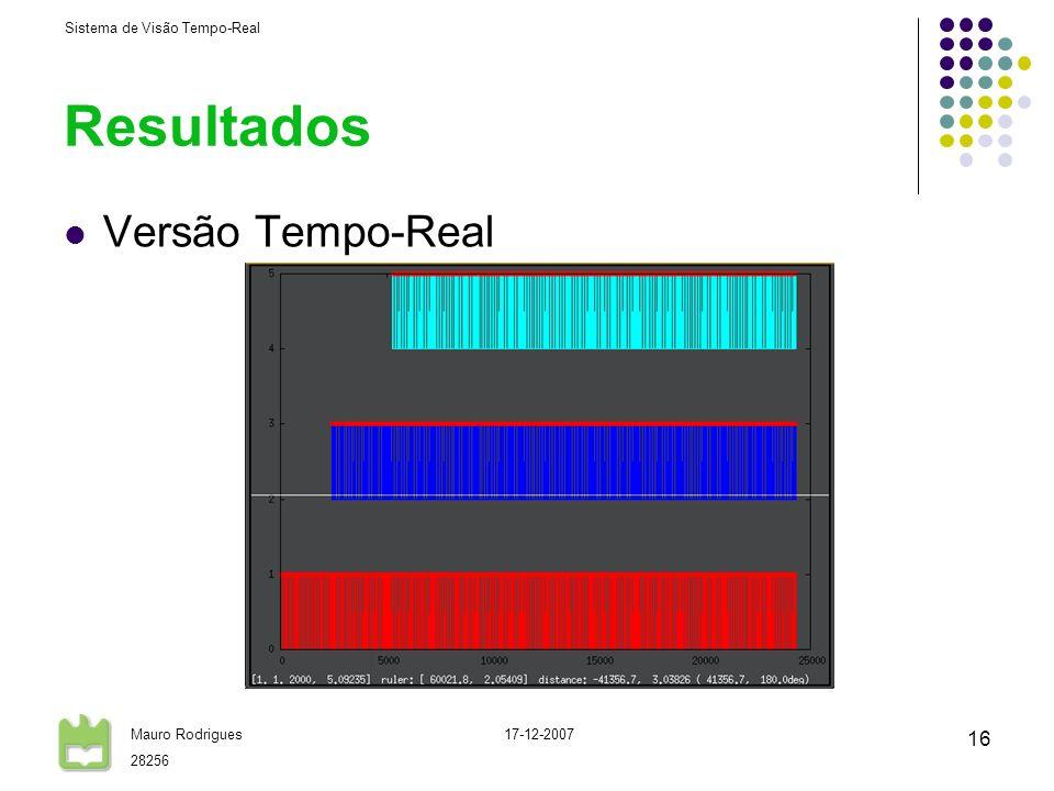 Sistema de Visão Tempo-Real Mauro Rodrigues 28256 17-12-2007 16 Resultados Versão Tempo-Real