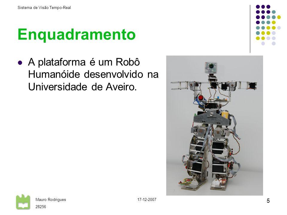 Sistema de Visão Tempo-Real Mauro Rodrigues 28256 17-12-2007 6 Arquitectura do Sistema de Visão Image Acquisition Image Processing Object Tracking Control Shared Memory RTDB Sleep