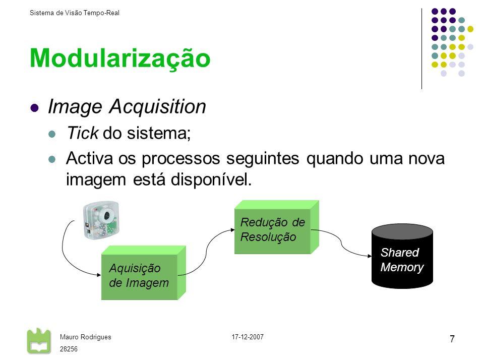 Sistema de Visão Tempo-Real Mauro Rodrigues 28256 17-12-2007 7 Modularização Image Acquisition Tick do sistema; Activa os processos seguintes quando u