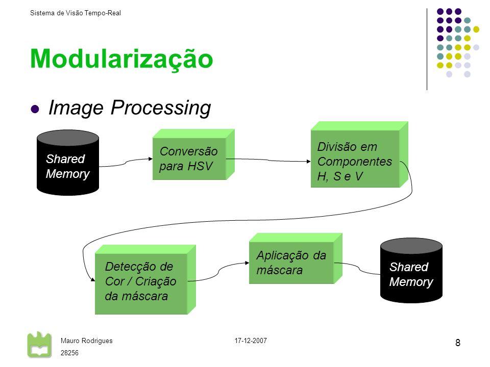 Sistema de Visão Tempo-Real Mauro Rodrigues 28256 17-12-2007 8 Modularização Image Processing Conversão para HSV Divisão em Componentes H, S e V Detecção de Cor / Criação da máscara Shared Memory Aplicação da máscara