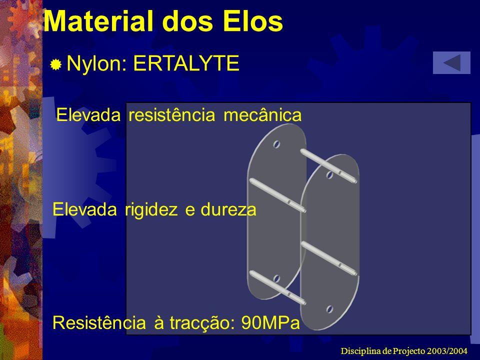 Disciplina de Projecto 2003/2004 Material dos Elos Nylon: ERTALYTE Elevada resistência mecânica Elevada rigidez e dureza Resistência à tracção: 90MPa