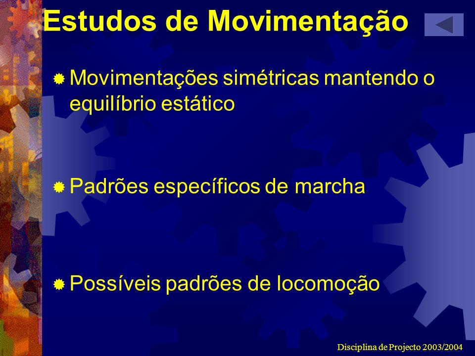 Disciplina de Projecto 2003/2004 Estudos de Movimentação Movimentações simétricas mantendo o equilíbrio estático Padrões específicos de marcha Possíve