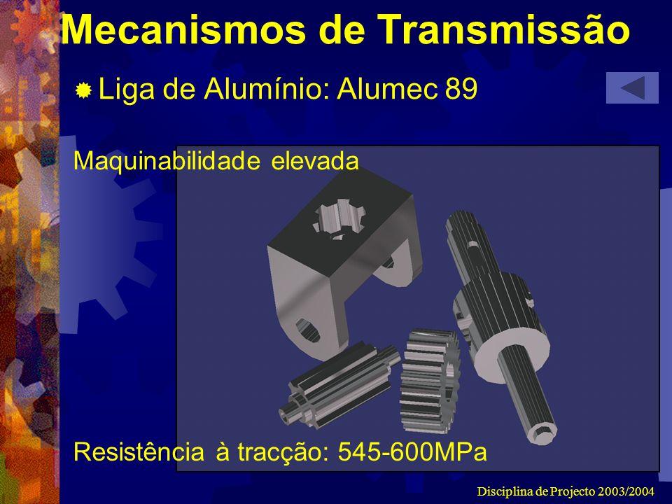 Disciplina de Projecto 2003/2004 Mecanismos de Transmissão Liga de Alumínio: Alumec 89 Maquinabilidade elevada Resistência à tracção: 545-600MPa