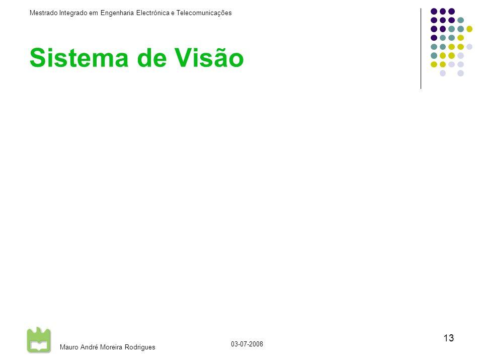 Mestrado Integrado em Engenharia Electrónica e Telecomunicações Mauro André Moreira Rodrigues 03-07-2008 13 Sistema de Visão