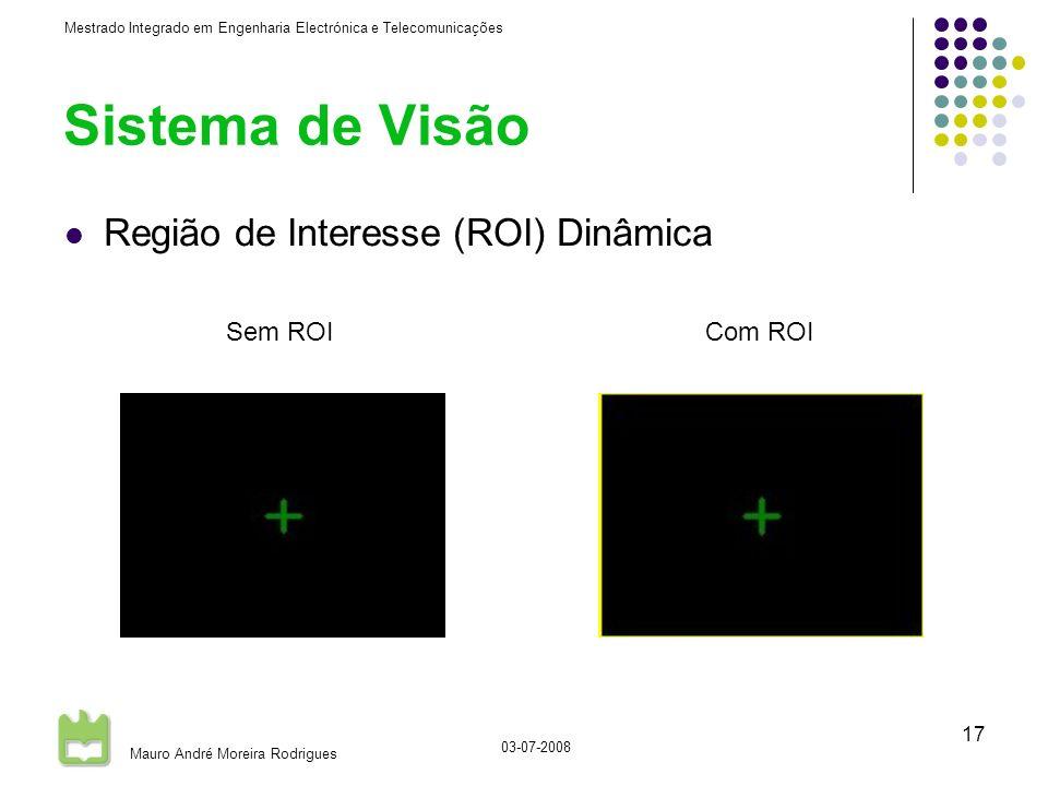 Mestrado Integrado em Engenharia Electrónica e Telecomunicações Mauro André Moreira Rodrigues 03-07-2008 17 Sistema de Visão Região de Interesse (ROI) Dinâmica Com ROISem ROI