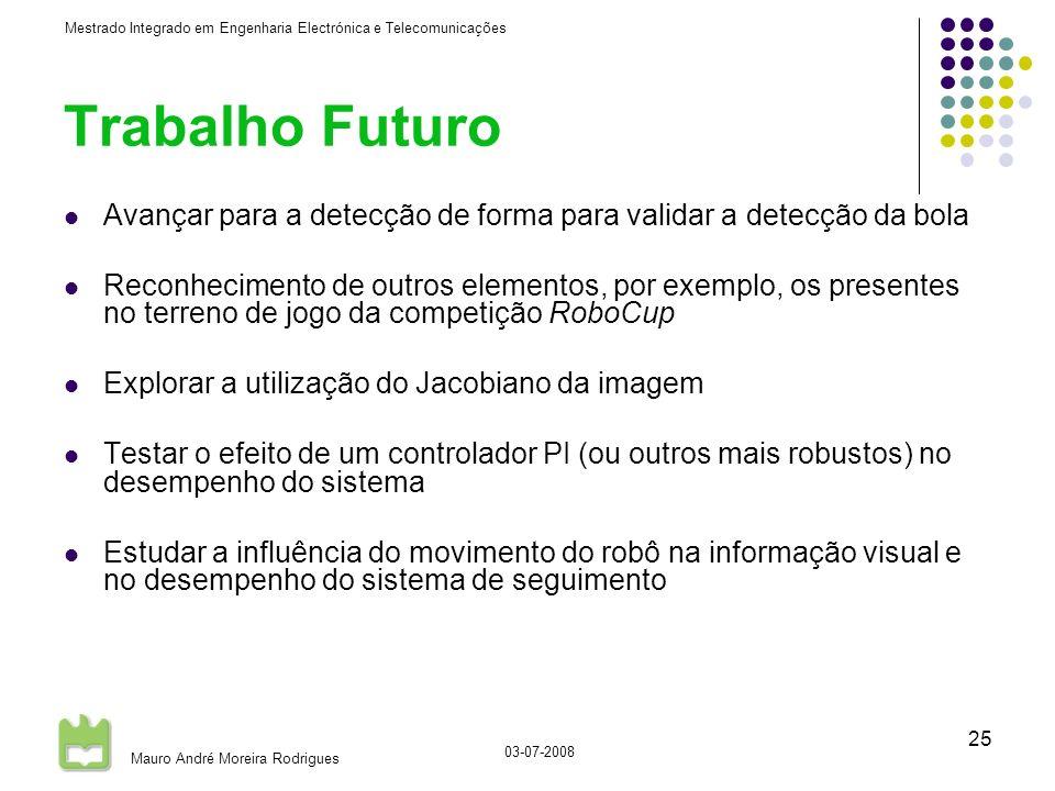 Mestrado Integrado em Engenharia Electrónica e Telecomunicações Mauro André Moreira Rodrigues 03-07-2008 25 Trabalho Futuro Avançar para a detecção de forma para validar a detecção da bola Reconhecimento de outros elementos, por exemplo, os presentes no terreno de jogo da competição RoboCup Explorar a utilização do Jacobiano da imagem Testar o efeito de um controlador PI (ou outros mais robustos) no desempenho do sistema Estudar a influência do movimento do robô na informação visual e no desempenho do sistema de seguimento