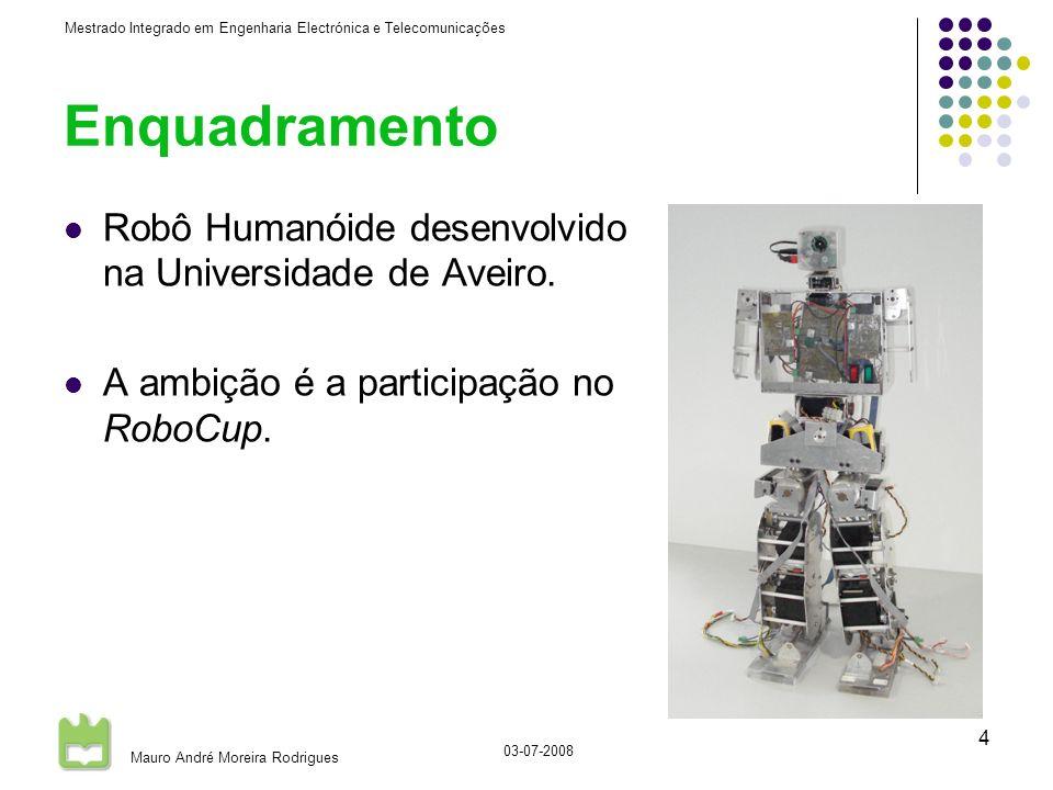 Mestrado Integrado em Engenharia Electrónica e Telecomunicações Mauro André Moreira Rodrigues 03-07-2008 4 Enquadramento Robô Humanóide desenvolvido na Universidade de Aveiro.