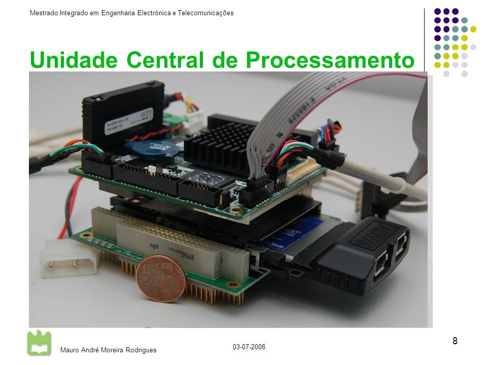Mestrado Integrado em Engenharia Electrónica e Telecomunicações Mauro André Moreira Rodrigues 03-07-2008 8 Unidade Central de Processamento CPU standard PCI-104 AMD Geode LX-800 @ 500MHz 512Mb RAM SSD 1Gb