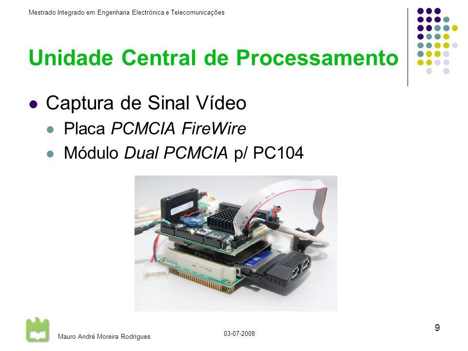 Mestrado Integrado em Engenharia Electrónica e Telecomunicações Mauro André Moreira Rodrigues 03-07-2008 9 Unidade Central de Processamento Captura de Sinal Vídeo Placa PCMCIA FireWire Módulo Dual PCMCIA p/ PC104