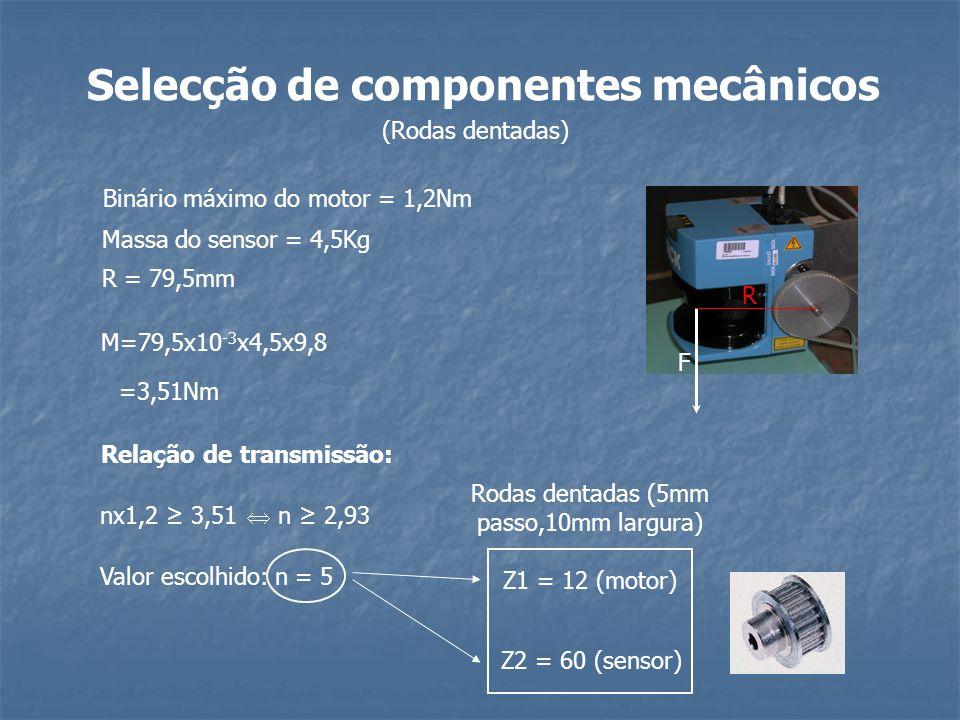 Selecção de componentes mecânicos R F Binário máximo do motor = 1,2Nm Massa do sensor = 4,5Kg R = 79,5mm M=79,5x10 -3 x4,5x9,8 =3,51Nm Relação de tran