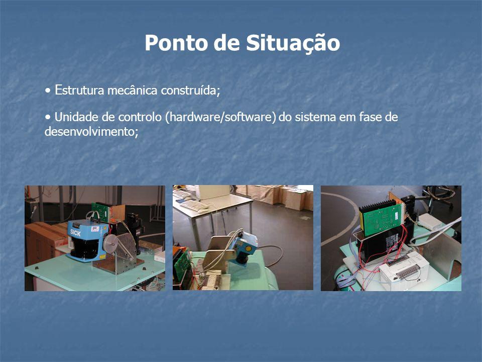 Ponto de Situação E strutura mecânica construída; Unidade de controlo (hardware/software) do sistema em fase de desenvolvimento;
