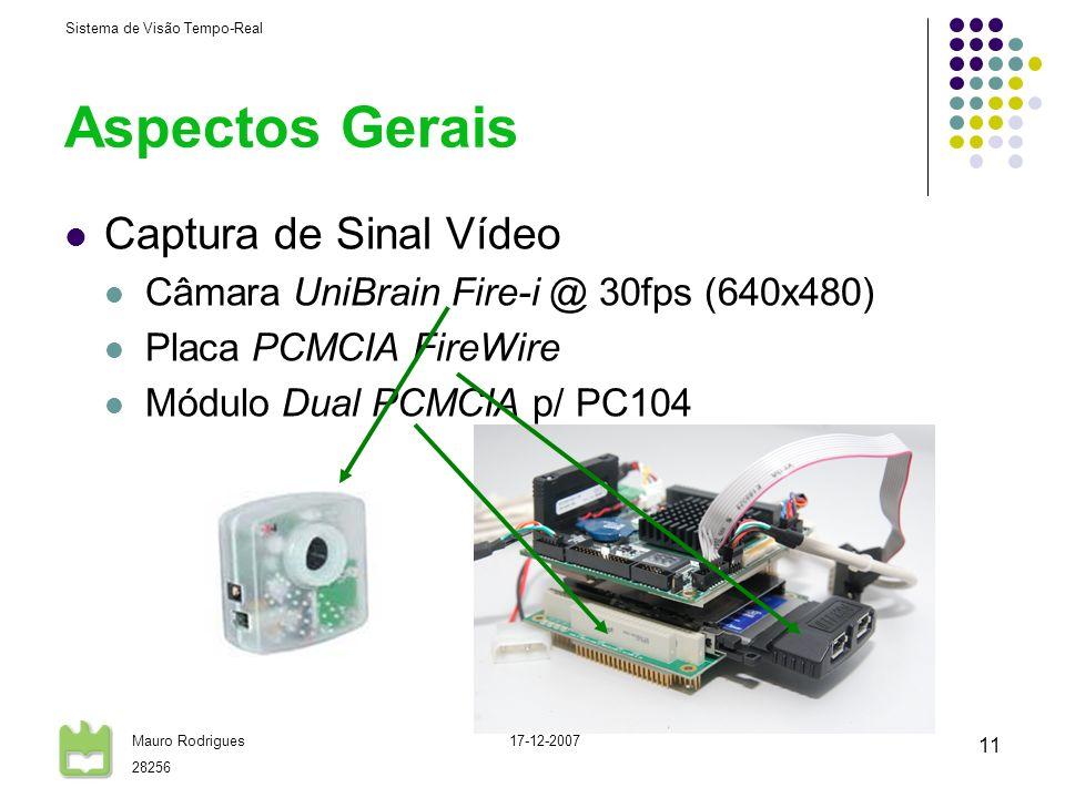 Sistema de Visão Tempo-Real Mauro Rodrigues 28256 17-12-2007 11 Aspectos Gerais Captura de Sinal Vídeo Câmara UniBrain Fire-i @ 30fps (640x480) Placa
