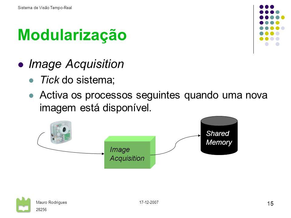 Sistema de Visão Tempo-Real Mauro Rodrigues 28256 17-12-2007 15 Modularização Image Acquisition Tick do sistema; Activa os processos seguintes quando