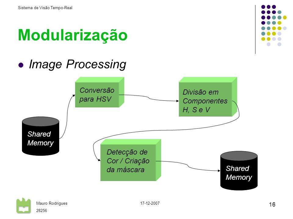 Sistema de Visão Tempo-Real Mauro Rodrigues 28256 17-12-2007 16 Modularização Image Processing Conversão para HSV Divisão em Componentes H, S e V Dete