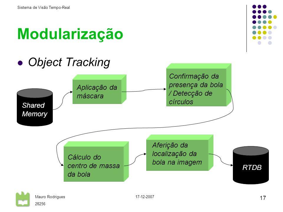 Sistema de Visão Tempo-Real Mauro Rodrigues 28256 17-12-2007 17 Modularização Object Tracking Aplicação da máscara Confirmação da presença da bola / D