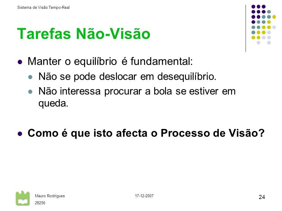Sistema de Visão Tempo-Real Mauro Rodrigues 28256 17-12-2007 24 Tarefas Não-Visão Manter o equilíbrio é fundamental: Não se pode deslocar em desequilí