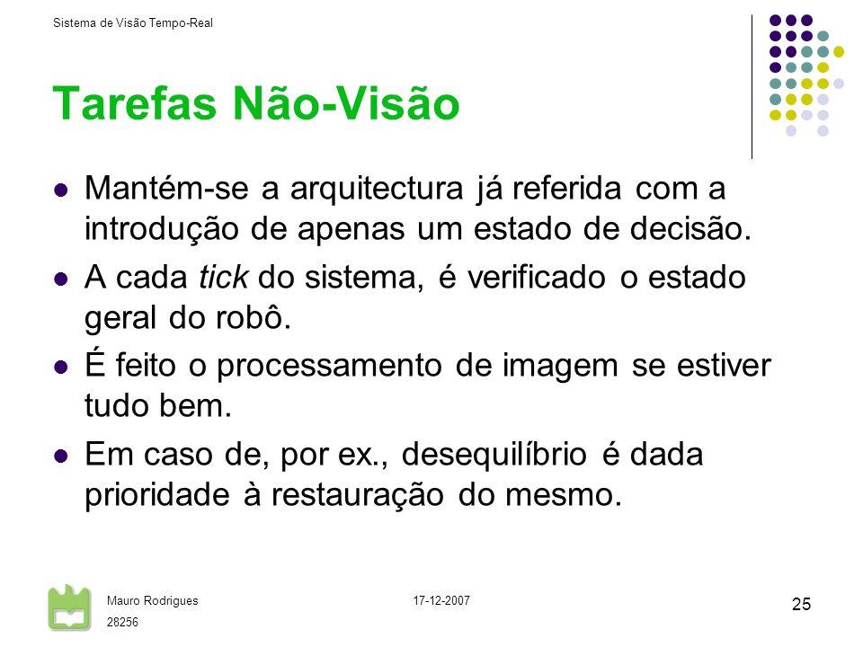 Sistema de Visão Tempo-Real Mauro Rodrigues 28256 17-12-2007 25 Tarefas Não-Visão Mantém-se a arquitectura já referida com a introdução de apenas um e