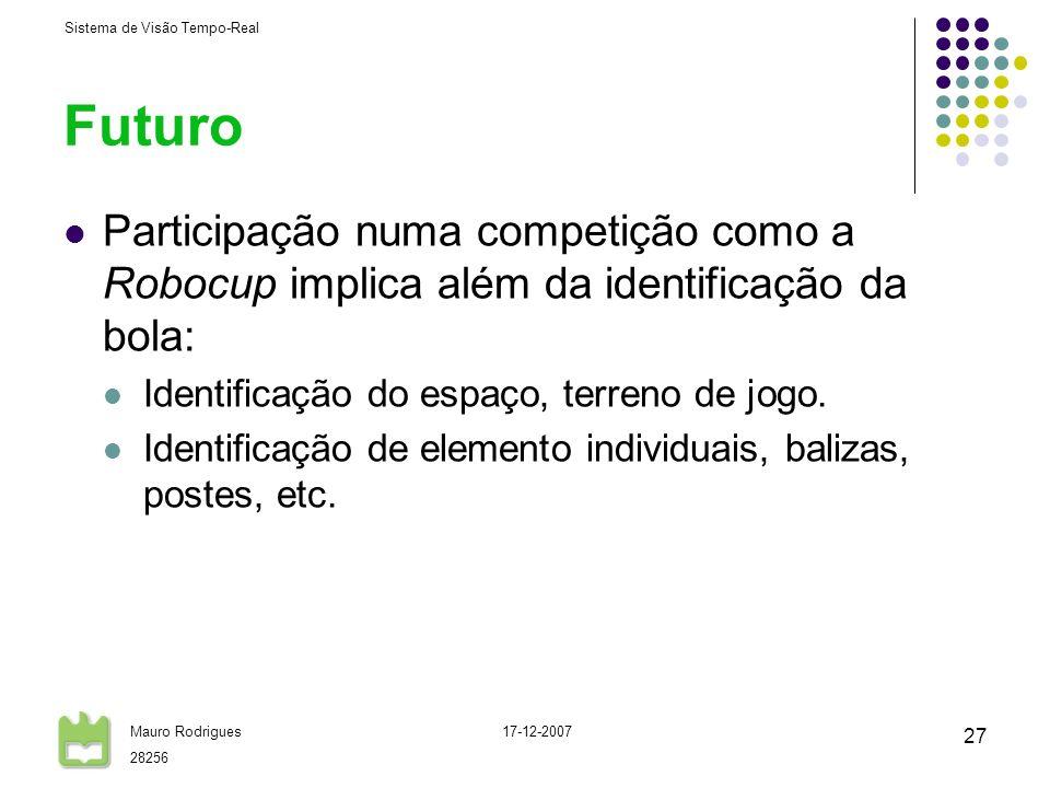 Sistema de Visão Tempo-Real Mauro Rodrigues 28256 17-12-2007 27 Futuro Participação numa competição como a Robocup implica além da identificação da bo