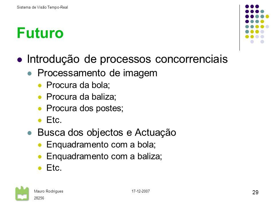 Sistema de Visão Tempo-Real Mauro Rodrigues 28256 17-12-2007 29 Futuro Introdução de processos concorrenciais Processamento de imagem Procura da bola;
