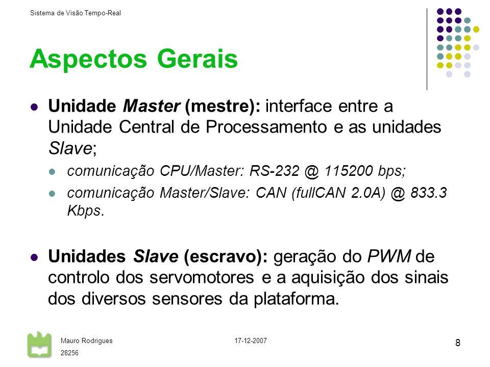 Sistema de Visão Tempo-Real Mauro Rodrigues 28256 17-12-2007 8 Aspectos Gerais Unidade Master (mestre): interface entre a Unidade Central de Processam