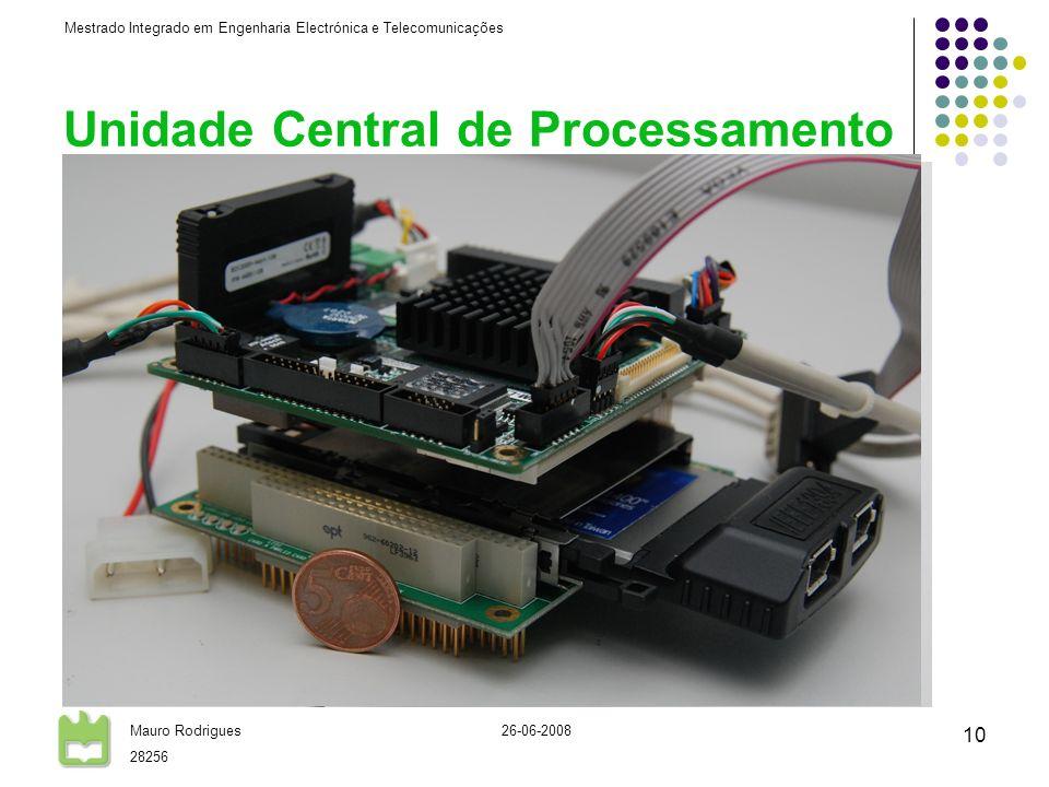 Mestrado Integrado em Engenharia Electrónica e Telecomunicações Mauro Rodrigues 28256 26-06-2008 10 Unidade Central de Processamento CPU standard PCI-104 AMD Geode LX-800 @ 500MHz 512Mb RAM SSD 1Gb