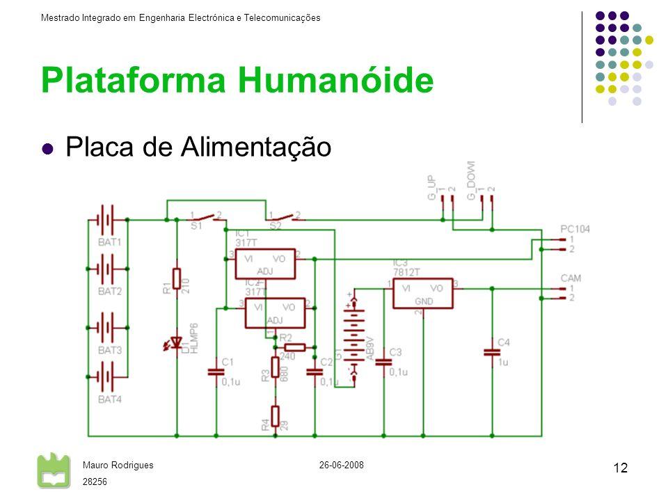 Mestrado Integrado em Engenharia Electrónica e Telecomunicações Mauro Rodrigues 28256 26-06-2008 12 Plataforma Humanóide Placa de Alimentação
