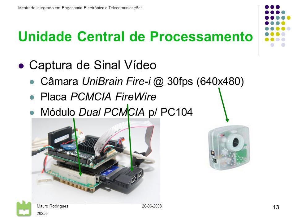 Mestrado Integrado em Engenharia Electrónica e Telecomunicações Mauro Rodrigues 28256 26-06-2008 13 Unidade Central de Processamento Captura de Sinal Vídeo Câmara UniBrain Fire-i @ 30fps (640x480) Placa PCMCIA FireWire Módulo Dual PCMCIA p/ PC104