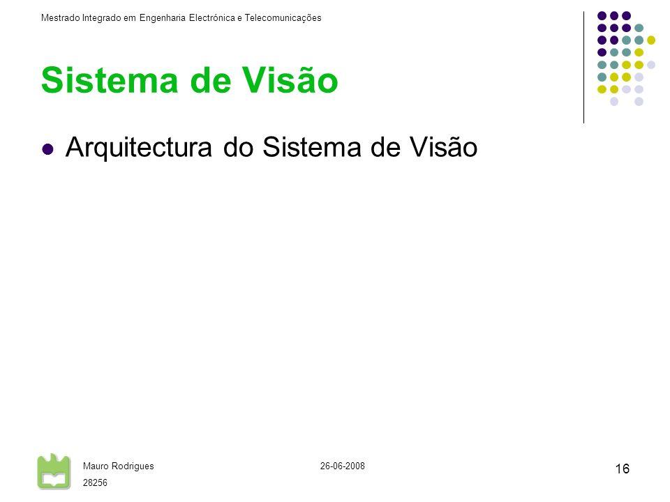 Mestrado Integrado em Engenharia Electrónica e Telecomunicações Mauro Rodrigues 28256 26-06-2008 16 Arquitectura do Sistema de Visão Sistema de Visão