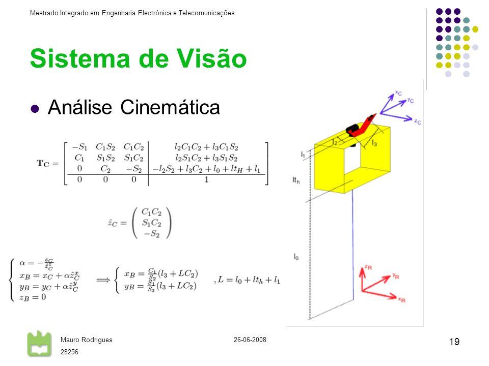 Mestrado Integrado em Engenharia Electrónica e Telecomunicações Mauro Rodrigues 28256 26-06-2008 19 Sistema de Visão Análise Cinemática