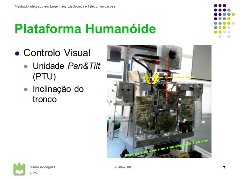 Mestrado Integrado em Engenharia Electrónica e Telecomunicações Mauro Rodrigues 28256 26-06-2008 7 Plataforma Humanóide Controlo Visual Unidade Pan&Tilt (PTU) Inclinação do tronco