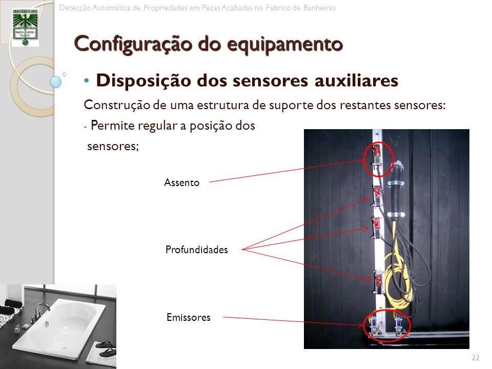 Disposição dos sensores auxiliares Construção de uma estrutura de suporte dos restantes sensores: - Permite regular a posição dos sensores; 22 Detecçã