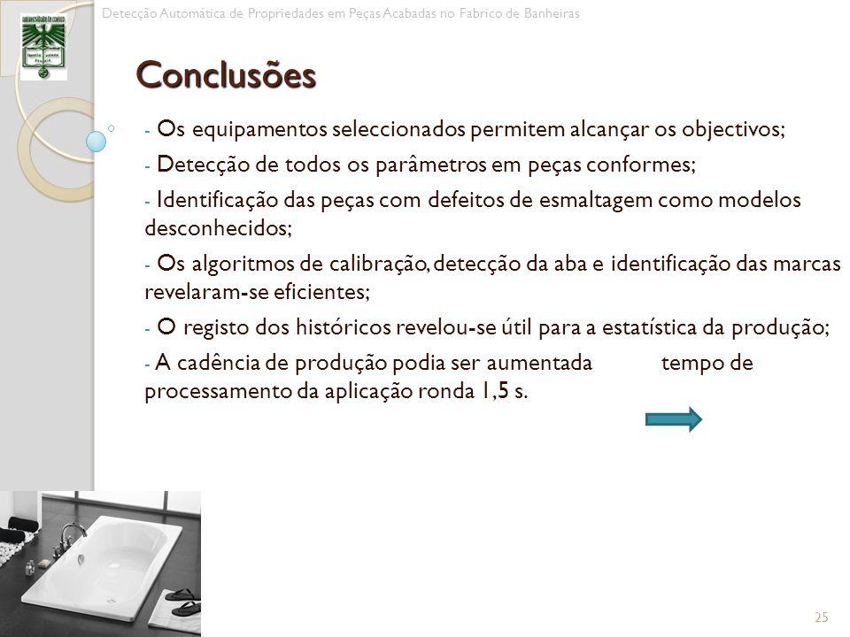 - Os equipamentos seleccionados permitem alcançar os objectivos; - Detecção de todos os parâmetros em peças conformes; - Identificação das peças com d