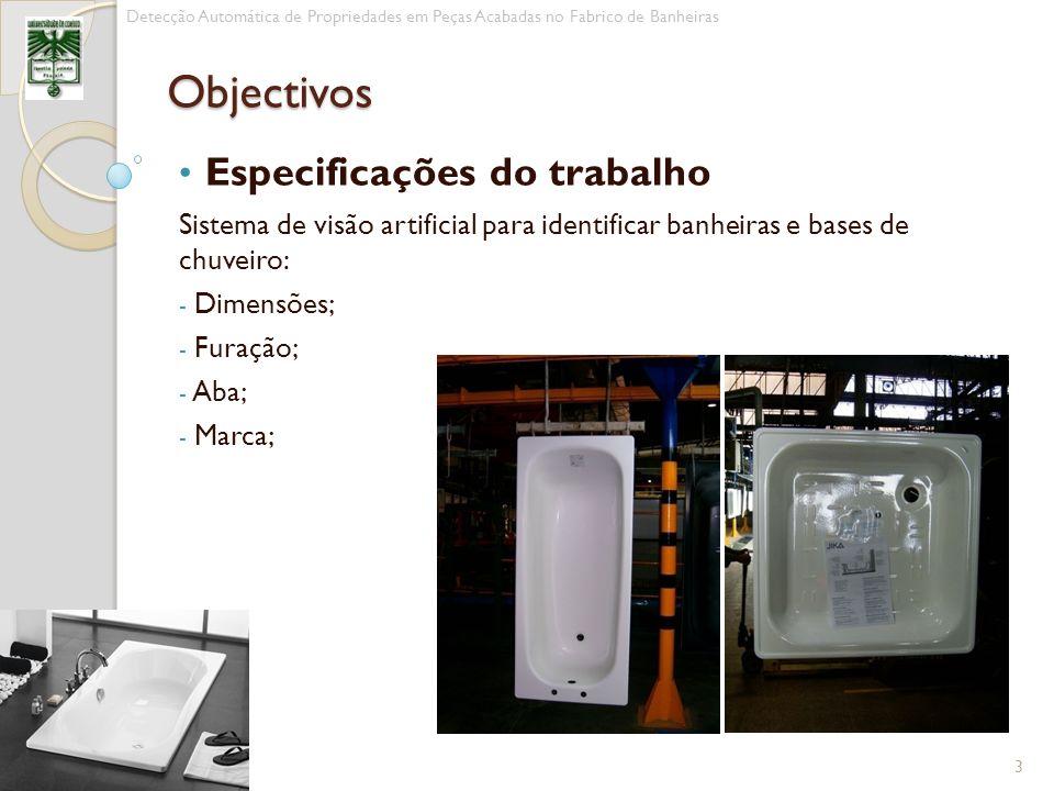 Especificações do trabalho Sistema de visão artificial para identificar banheiras e bases de chuveiro: - Dimensões; - Furação; - Aba; - Marca; 3 Detec