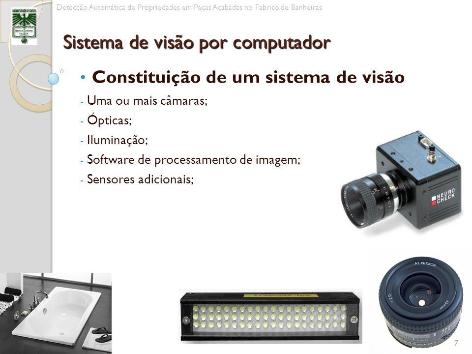 Constituição de um sistema de visão - Uma ou mais câmaras; - Ópticas; - Iluminação; - Software de processamento de imagem; - Sensores adicionais; 7 De