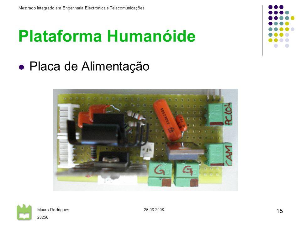 Mestrado Integrado em Engenharia Electrónica e Telecomunicações Mauro Rodrigues 28256 26-06-2008 15 Plataforma Humanóide Placa de Alimentação