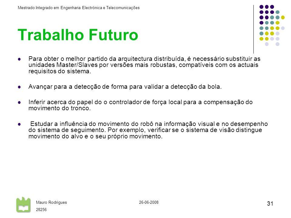 Mestrado Integrado em Engenharia Electrónica e Telecomunicações Mauro Rodrigues 28256 26-06-2008 31 Trabalho Futuro Para obter o melhor partido da arq