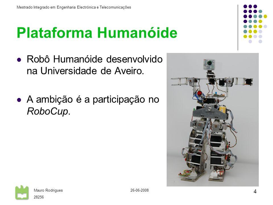 Mestrado Integrado em Engenharia Electrónica e Telecomunicações Mauro Rodrigues 28256 26-06-2008 5 Plataforma Humanóide A plataforma humanóide é constituída por 22 graus de liberdade: 2 em cada pé (2x2); 1 em cada joelho (1x2); 3 em cada anca (3x2); 2 no tronco (2x1); 3 em cada braço (3x2); 2 na cabeça (PTU) (2x1).