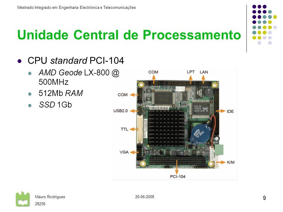 Mestrado Integrado em Engenharia Electrónica e Telecomunicações Mauro Rodrigues 28256 26-06-2008 9 Unidade Central de Processamento CPU standard PCI-1
