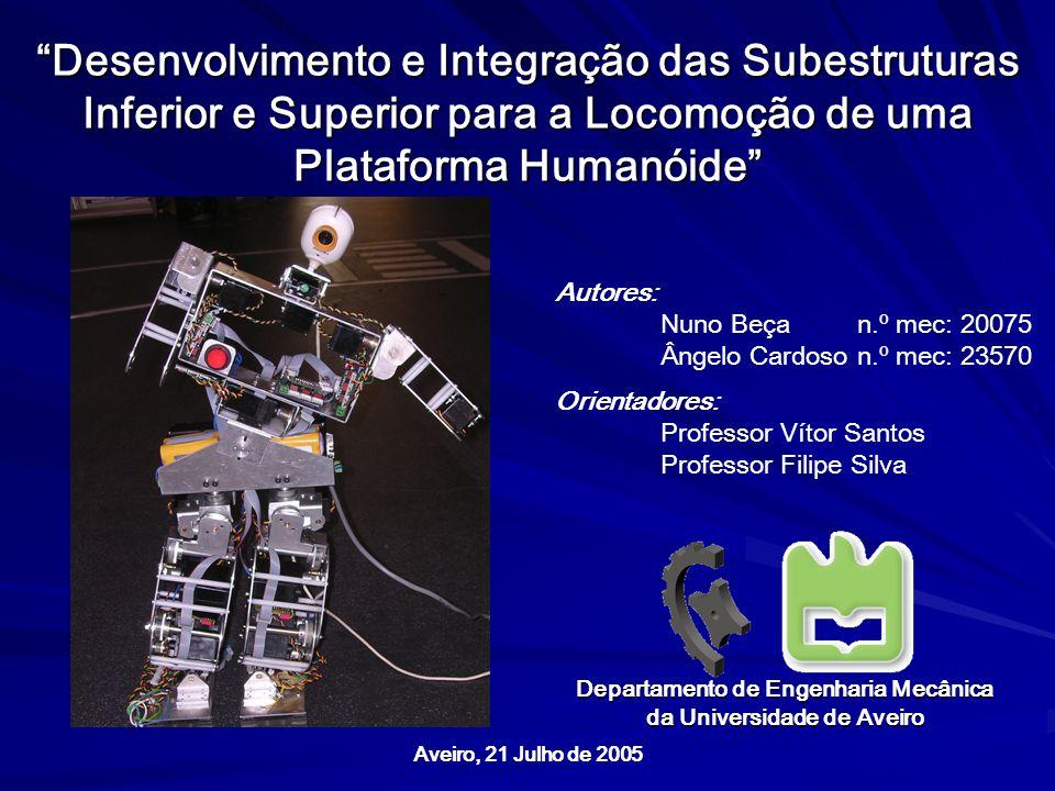Desenvolvimento e Integração das Subestruturas Inferior e Superior para a Locomoção de uma Plataforma Humanóide Aveiro, 21 Julho de 2005 Autores: Nuno