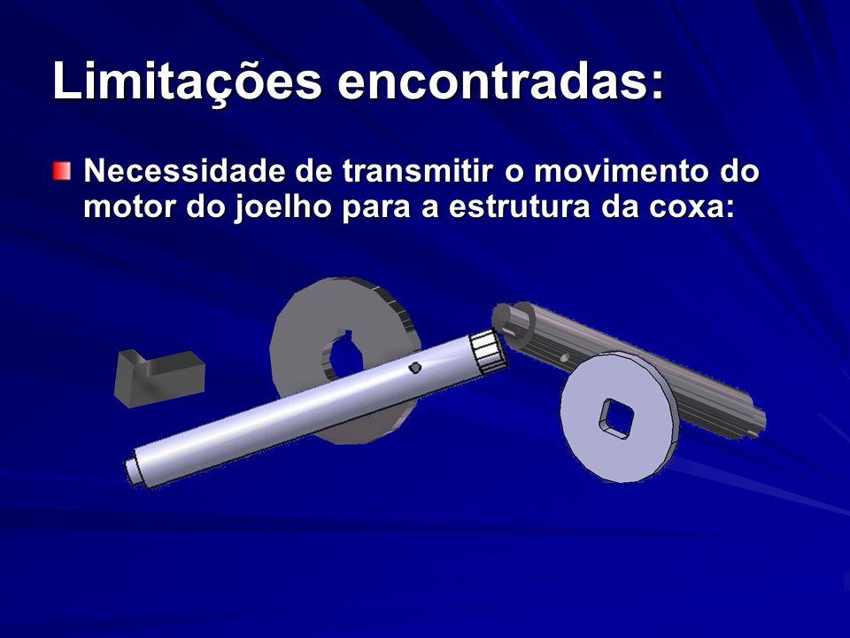 Limitações encontradas: Necessidade de transmitir o movimento do motor do joelho para a estrutura da coxa: