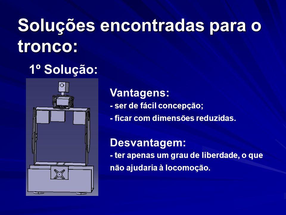 Soluções encontradas para o tronco: Vantagens: - ser de fácil concepção; - ficar com dimensões reduzidas. Desvantagem: - ter apenas um grau de liberda