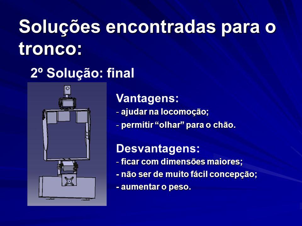 Soluções encontradas para o tronco: 2º Solução: final Vantagens: - ajudar na locomoção; - permitir olhar para o chão. Desvantagens: - ficar com dimens